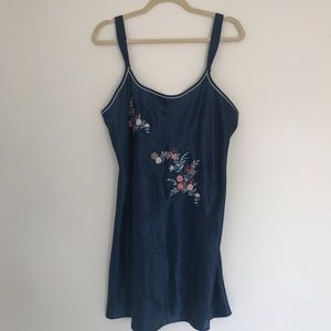 Vintage oriental satin slip dress w embroidery